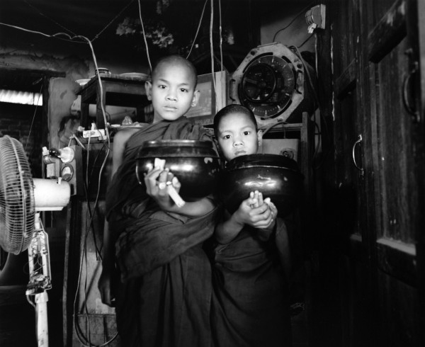 """two young monks road to mandalay 2013 toned gelatin silver print 40"""" x 49""""   18"""" x 22"""" edition of 3   5"""