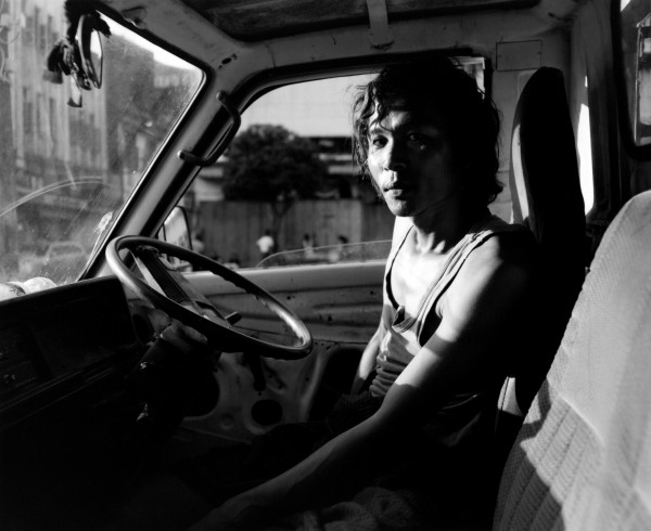 """worker in truck yangon 2013 toned gelatin silver print 40"""" x 49""""   18"""" x 22"""" edition of 3   5"""